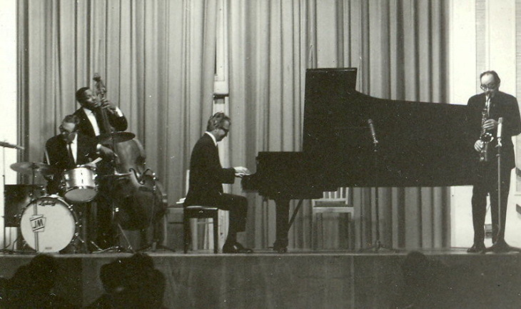 A portrait of Dave Brubeck at the Musikhalle Hamburg, in November 1972.