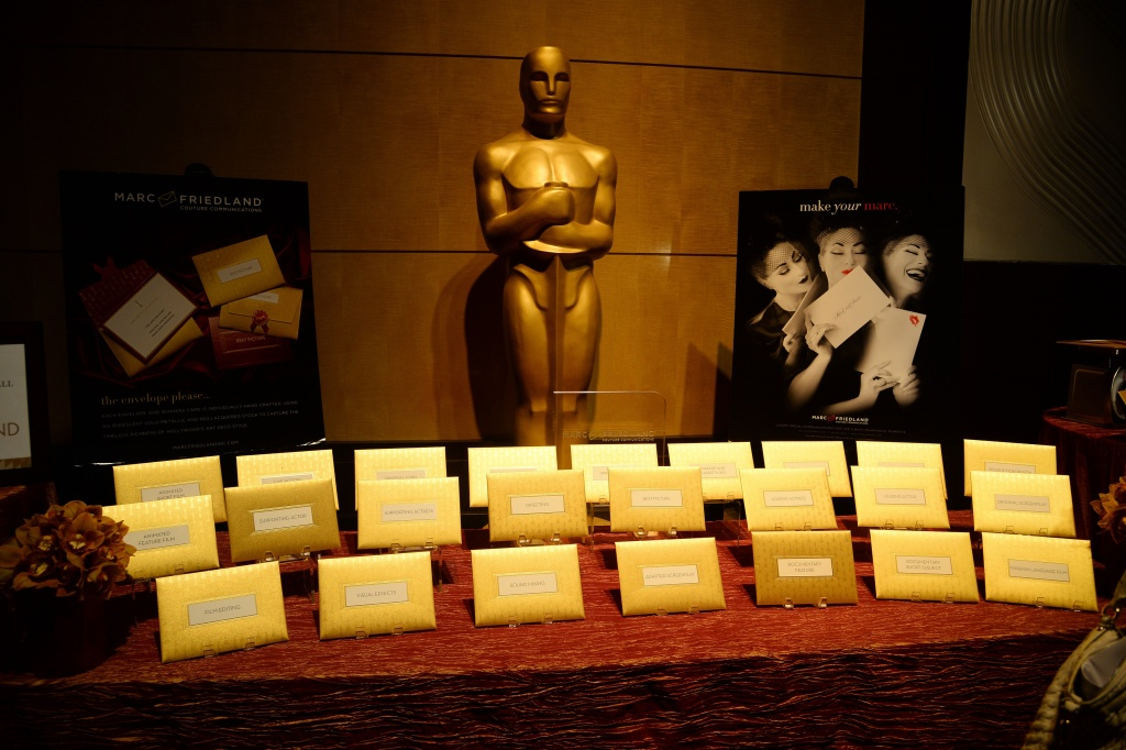 File: Announcement cards and envelopes by designer Marc Friedland which are used by presenters at the Oscars to announce winners are on display at the food and decor preview Feb. 4, 2015 in Hollywood.