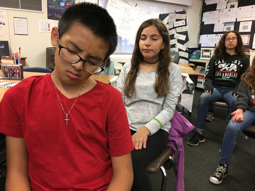 Sixth graders in Anaheim practice mindfulness to help them open up their minds.