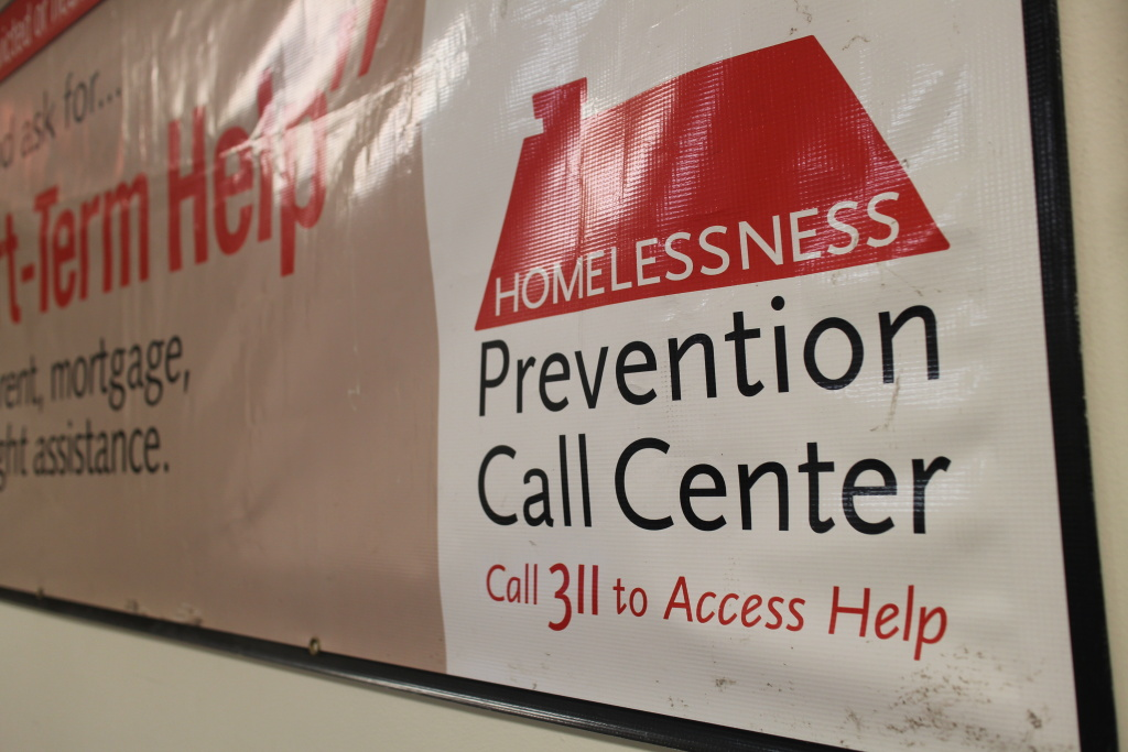 Chicago advertises its homeless prevention call center to people who may need emergency funding to avoid eviction, Nov. 14, 2019.