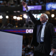 Sen. Bernie Sanders (I-VT) acknowledges the crowd before delivering remarks on the first day of the Democratic National Convention at the Wells Fargo Center in Philadelphia, Pennsylvania.