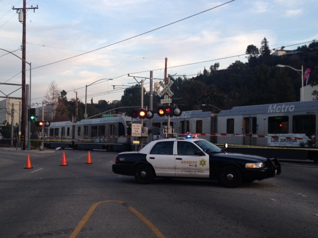 The scene after a Metro Gold Line train hit and dragged a pedestrian.