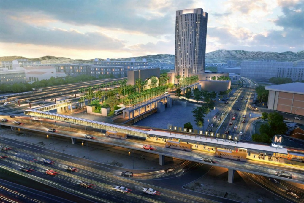 A rendering shows the covered bus platform for the Silver Line and a pedestrian bridge that will link the stop to the bus plaza on the east side of Union Station.