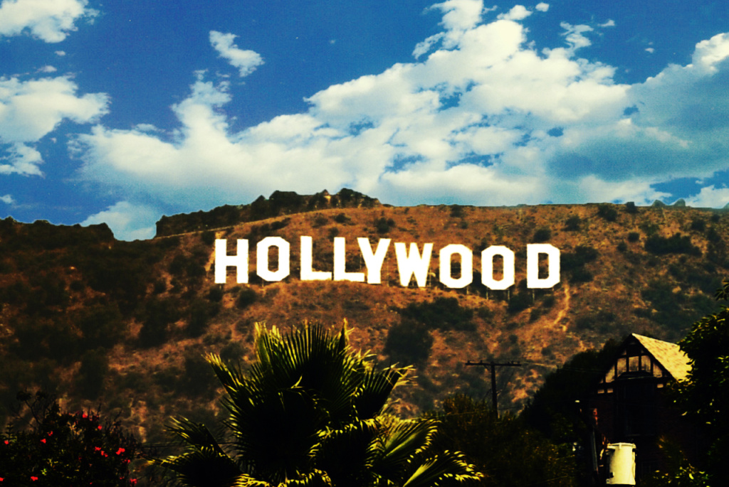 The Hollywood sign in the Hollywood Hills.