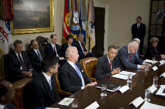 President Barack Obama speaks during a meeting of the Economic Recovery Advisory Board as Vice President Joe Biden (2nd L), Secretary of Commerce Gary Locke (L) and Chairman Paul Volcker (R) listen at the White House April 16, 2010 in Washington DC.