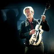 Rock legend David Bowie performs on stage at the Forum in Copenhagen late 07 October 2003.