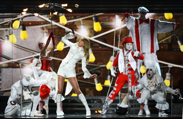 Singer Taylor Swift performs onstage at the 55th Annual Grammy Awards at Staples Center on Feb. 10, 2013 in Los Angeles.