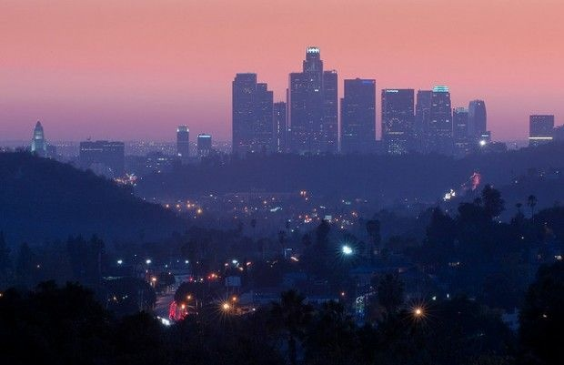 The skyline as seen from East Los Angeles, November 2009