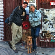 Off-Ramp host John Rabe, filmmaker Stephen Seemeyer, and Connor the dog outside the former Al's Bar in downtown LA.