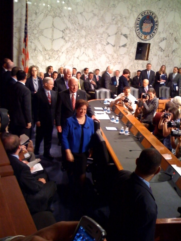 Elena Kagan enters the Judiciary hearing room