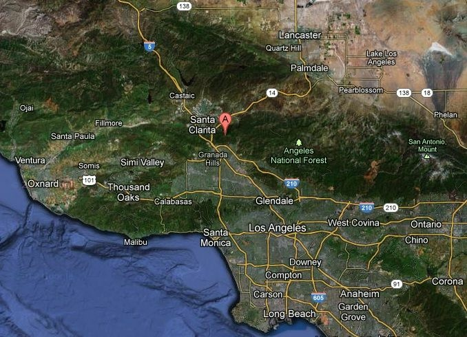 Screenshot of the earthquake that hit near Santa Clarita Sunday morning. The place mark shows the epicenter of the quake.
