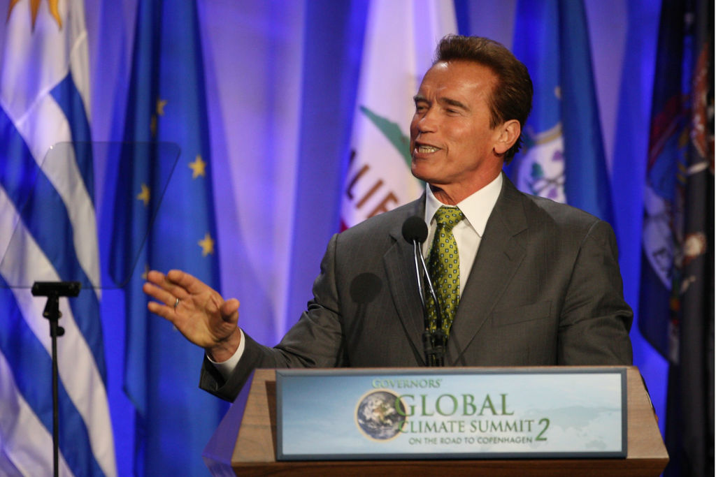 California Gov. Arnold Schwarzenegger speaks as US governors and international leaders convene at the Governors' Global Climate Summit 2 on September 30, 2009 in Century City, California.