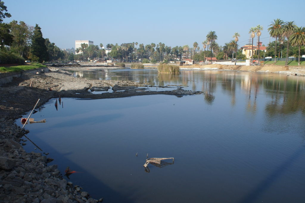 Echo Park Lake, nearly empty as crews work to clean and restore the lake. Several shopping carts were found at the lake's bottom, among other debris.