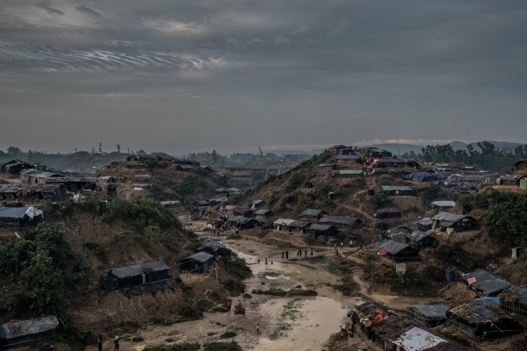 Rohingya refugees build makeshift shelters along the hills of Balukhali, a village in southern Bangladesh.