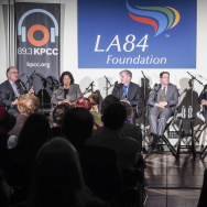 (L-R) AirTalk host Larry Mantle, Anita L. DeFrantz, Rich Llewellyn, Jeff Millman, Barry Sanders and Herb Wesson at the LA84 discussion on November 5, 2015.
