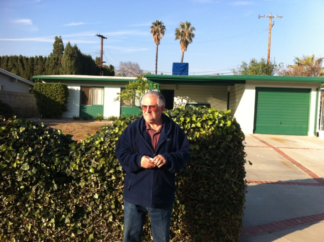 The palm tree is ubiquitous. This photo of Joe Sauer, who has the Northridge earthquake epicenter in his back yard (in Reseda), is also a testament to the inescapable nature of palms, which tower over his neighborhood.