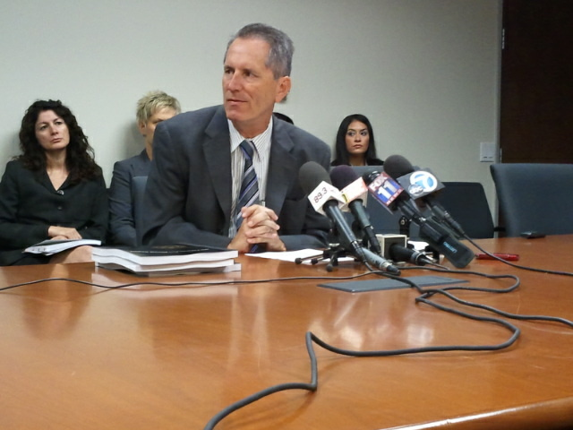 The Office of Independent Review's chief attorney Michael Gennaco answers media questions at a news conference announcing the 10th annual report on the Los Angeles County Sheriff's Department.