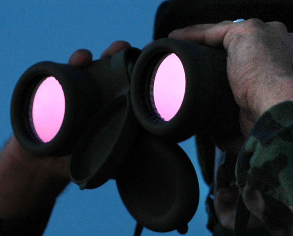 U.S. Army Pfc. Holt Duggins, from the North Carolina Army National Guard, looks through his binoculars at an area of the Mexican border in San Luis, Ariz.