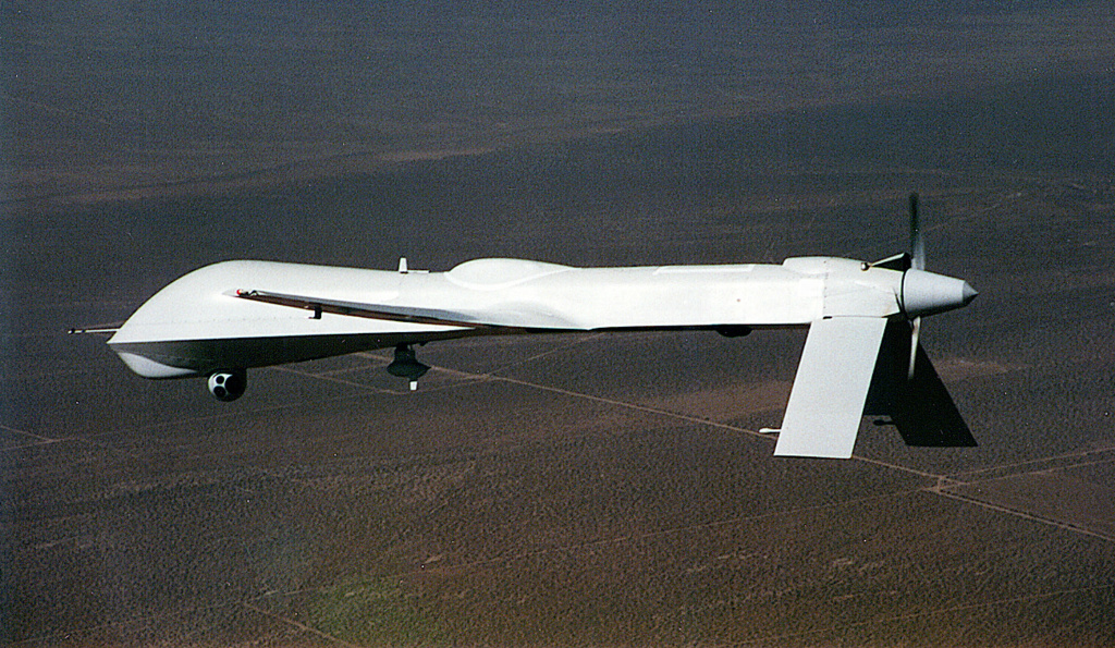 The MQ 'Predator' drone or Unmanned Aerial Vehicle (UAV) is shown in this undated handout photo from the aircraft's manufacturer, General Atomics. General Atomics explains that the previous 'RQ' designation for this vehicle has recently been changed to 'MQ' to reflect the aircrafts multi-functional capabilities. The new designation moves the Predator from a strictly reconnaissance role, to an ability to carry and fire weapons such as the 'Hellfire' missile.