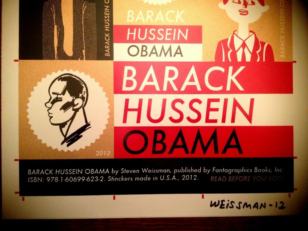 "Signed sticker sheet for Steven Weissman's ""Barack Hussein Obama."""