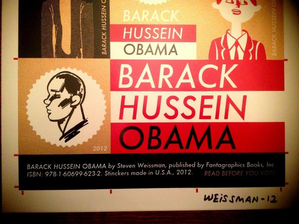 "Signed sticker sheet for Steven Weissman's ""Barack Hussein Obama."""