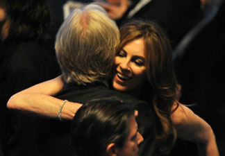 Nominee for Best Director Kathryn Bigelow for 'The Hurt Locker' hugs ex-husband and nominee for Best Director James Cameron for 'Avatar' at the 82nd Academy Awards at the Kodak Theater in Hollywood, California on March 07, 2010.
