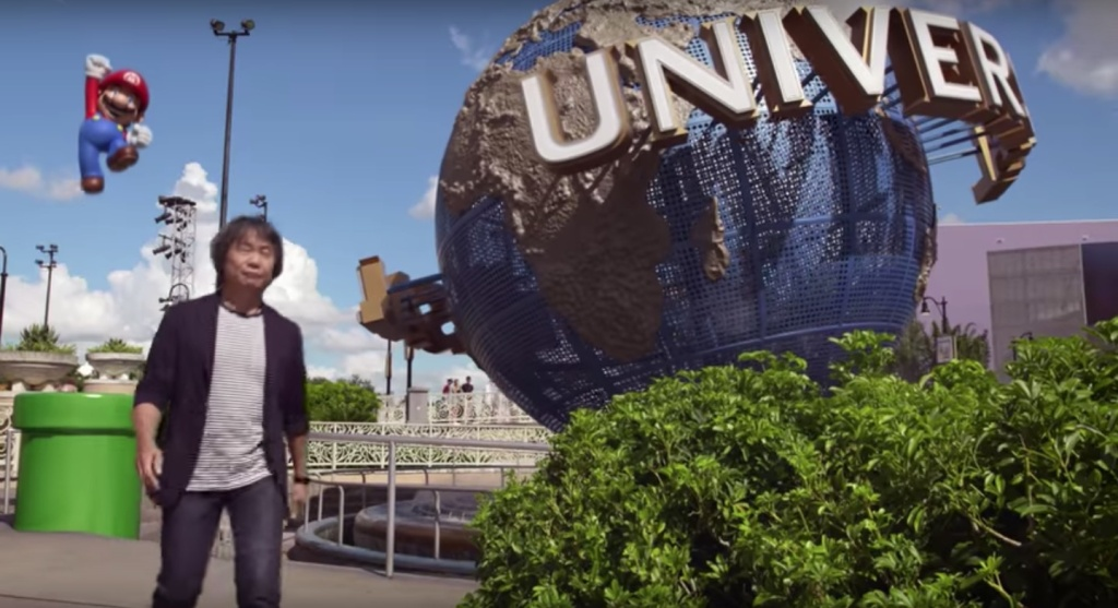 A still from a video announcing Nintendo attractions coming to Universal Studios parks worldwide, including Universal Studios Hollywood. Pictured: Mario creator Shigeru Miyamoto and, of course, Mario.