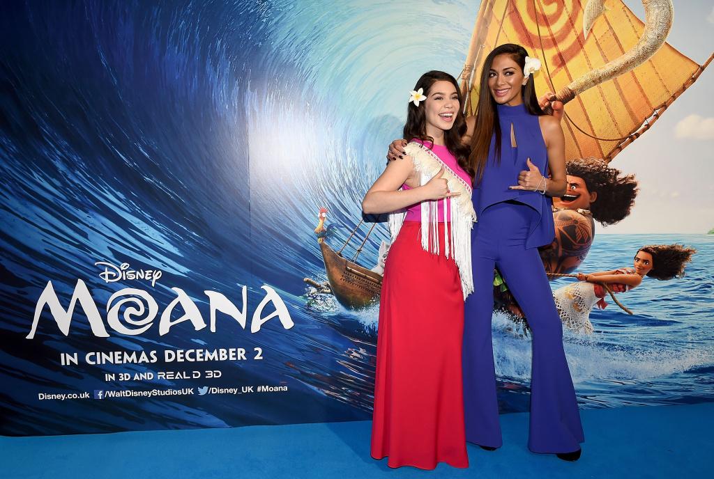 Auli'i Cravalho (L) and Nicole Sherzinger attend the UK Gala screening of Disney's