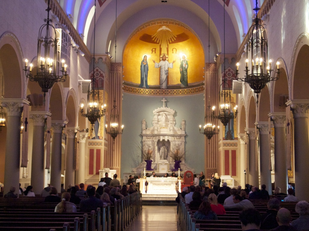 Inside of St. Monica's Catholic Church in Santa Monica.