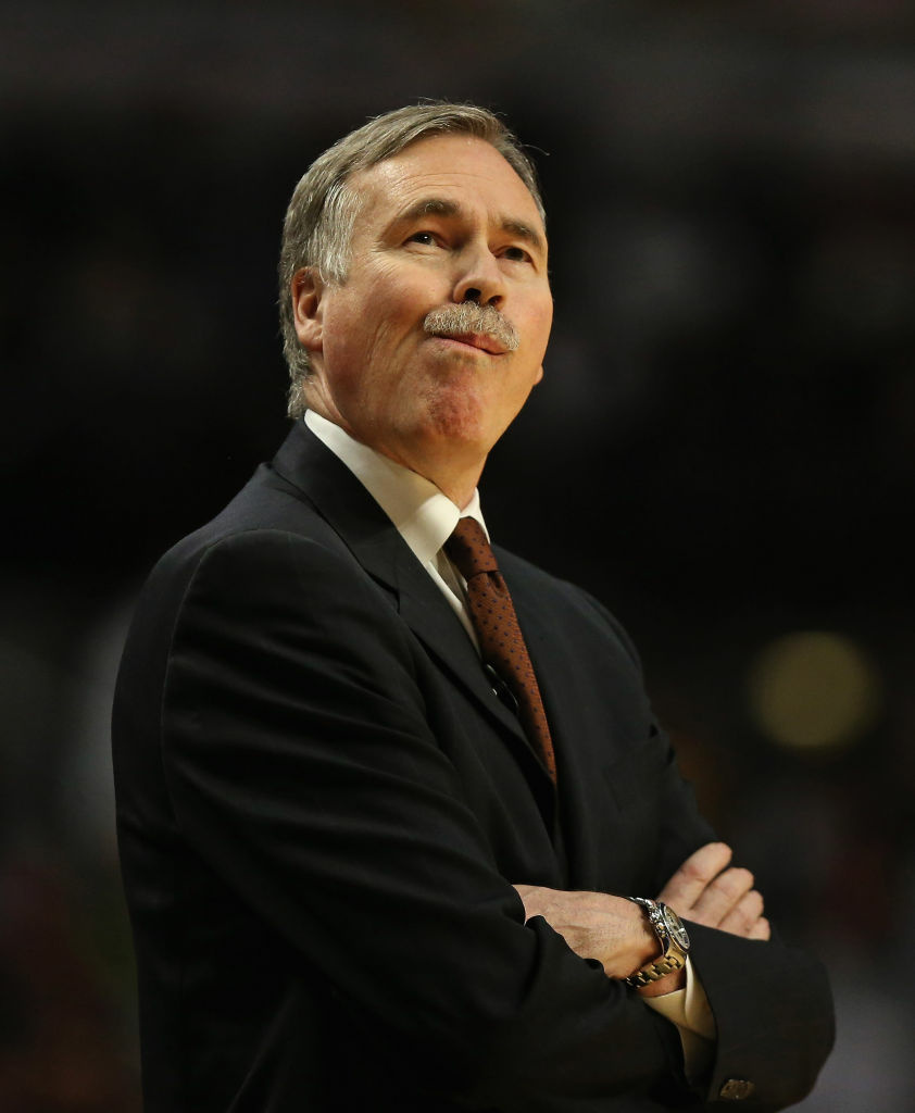Head coach Mike D'Antoni of the Los Angeles Lakers reacts during a game against the Chicago Bulls at the United Center on January 21, 2013 in Chicago, Illinois.