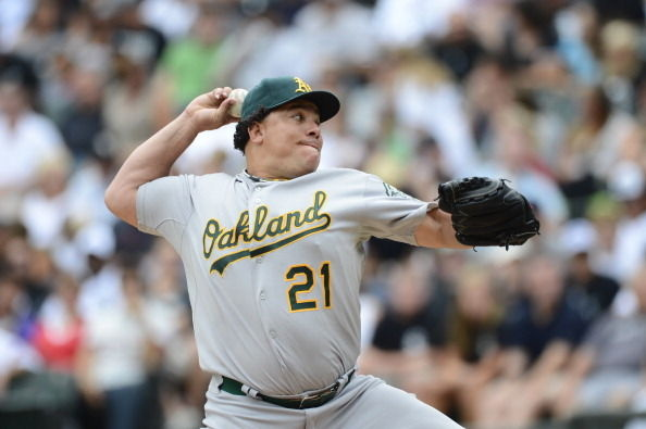 Bartolo Colon of the Oakland Athletics pitches against the Chicago White Sox on August 12, 2012 at U.S. Cellular Field in Chicago, Illinois.