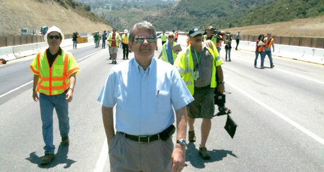 Supervisor Zev Yaroslavsky, the man who gave carmageddon it's name, walks the empty 405 on July 16, 2011, as crews worked to demolish a section of the Mulholland Bridge.