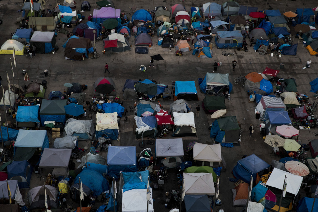 A large homeless encampment is formed in the Santa Ana Civic Center