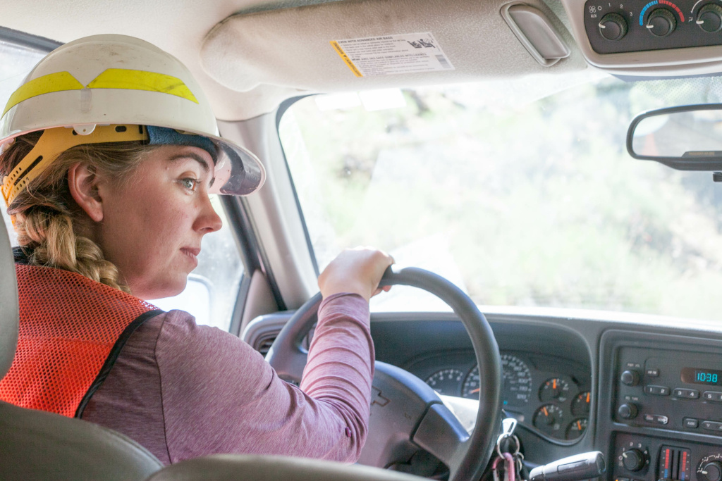 US Forest Service crew member and botanist Paris Krause drives through moderate and high-intensity burn areas one year after the Lake Fire in the San Bernardino National Forest on Wednesday, July 20, 2016.