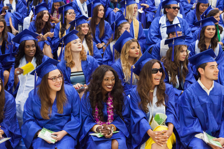 Students gather before graduation at Santa Monica College on June 11th, 2013.