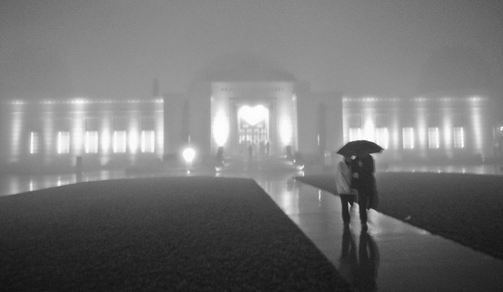 A stock photo of rainy weather at Griffith Observatory.