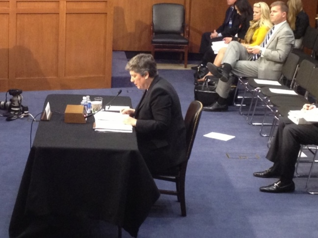 Homeland Security Secretary Janet Napolitano preparing to testify before the Senate Judiciary Committee Tuesday. Her appearance had ben delayed by the bombings in Boston.