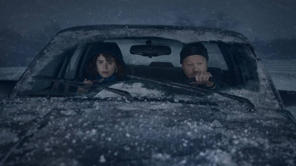 Snow Way Out: A couple (Jessie Buckley and Jesse Plemons) takes a long road trip during a snowstorm in <em>I'm Thinking of Ending Things</em> on Netflix.