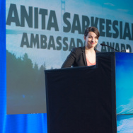 Feminist video game critic Anita Sarkeesian receiving the 2014 Game Developers Choice Ambassador Award.