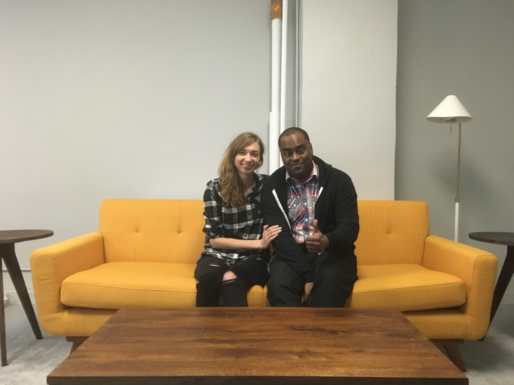 Lauren Lapkus with Shaun Diston, a guest on her show