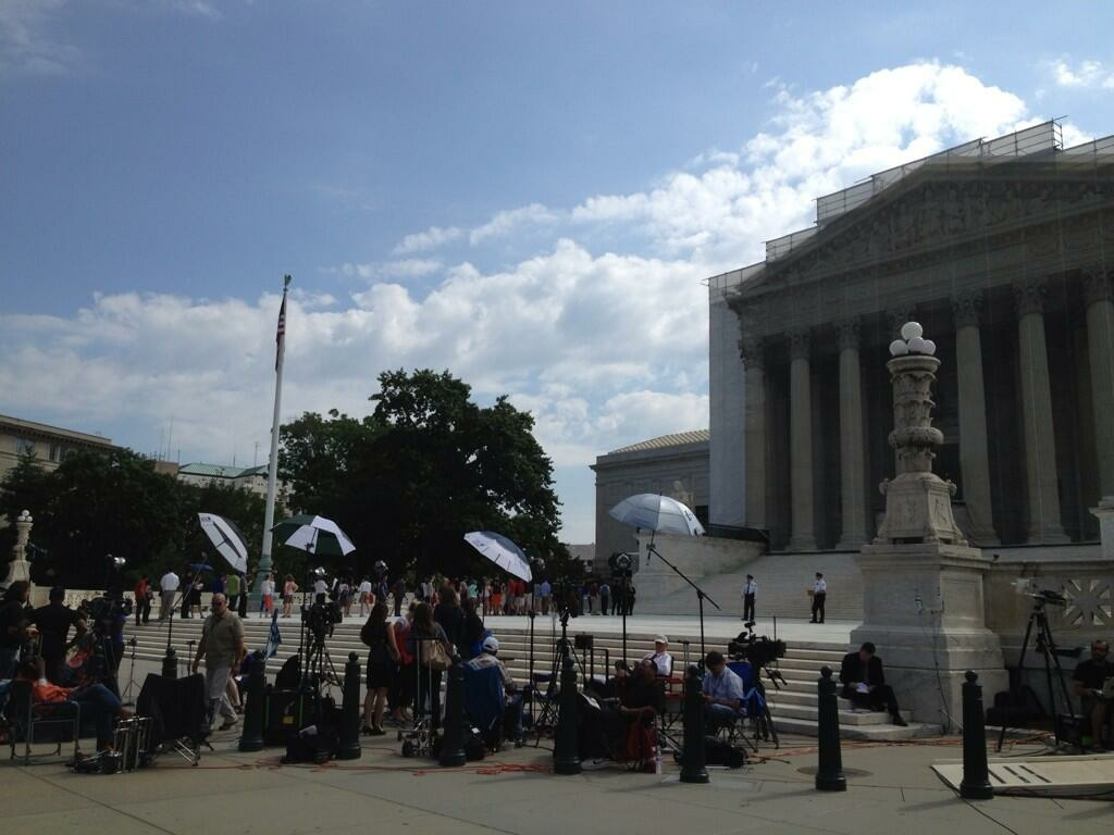 The reporter scrum in front of the Supreme Court Thursday hoping for rulings on Prop 8. Instead, the court ruled on a California sentencing case.