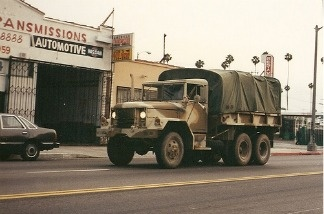 A military vehicle patrols the streets of Los Angeles during the riots.