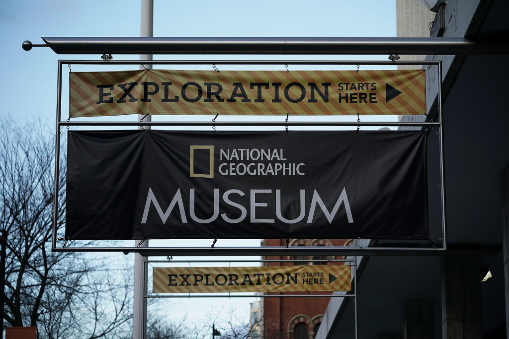 The sign of The National Geographic Museum & Headquarters is seen December 14, 2017 in Washington, DC.