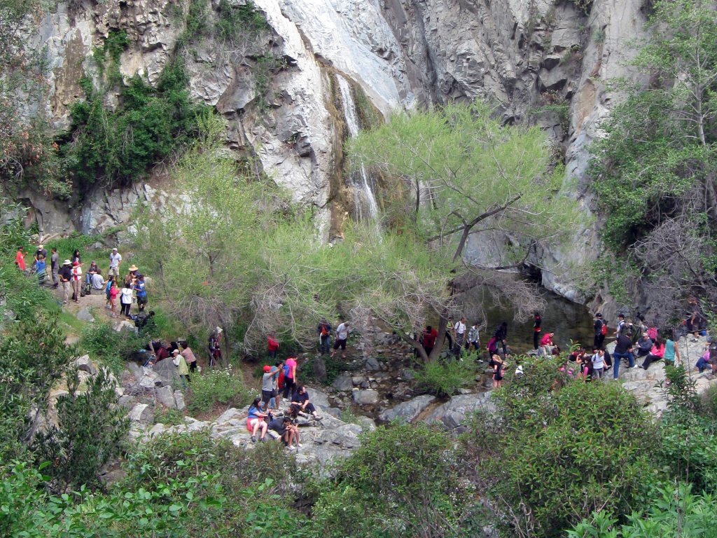 The hike to Fish Canyon Falls is a popular destination in the San Gabriel Mountains. The trailhead is now accessible by shuttle from the Gold Line station in Duarte Saturdays through the end of June.