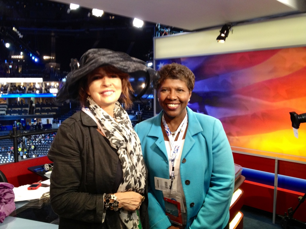 KPCC's Patt Morrison poses with PBS's Gwen Ifill at the Time Warner Cable Arena in Charlotte, North Carolina during the Democratic National Convention on September 4, 2012.