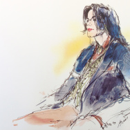 An illustration by Bill Robles of Michael Jackson on trial in 2005 for child molestation and related charges.