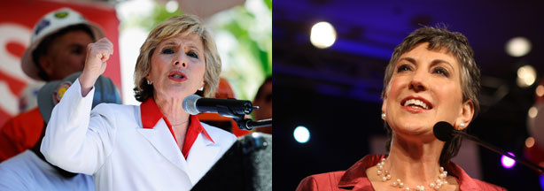Democratic Senator Barbara Boxer and Republican Senate candidate Carly Fiorina