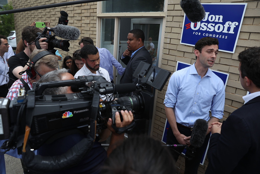 Democratic candidate Jon Ossoff speaks to the media as he visits a campaign office to thank volunteers and supporters as he runs for Georgia's 6th Congressional District on June 19, 2017.