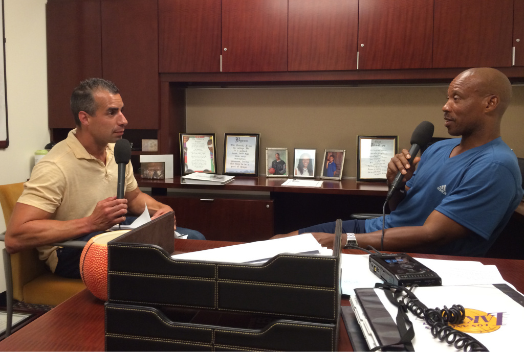 A Martinez interviews Lakers' head coach Byron Scott, in his office, ahead of the 2014-2015 season.