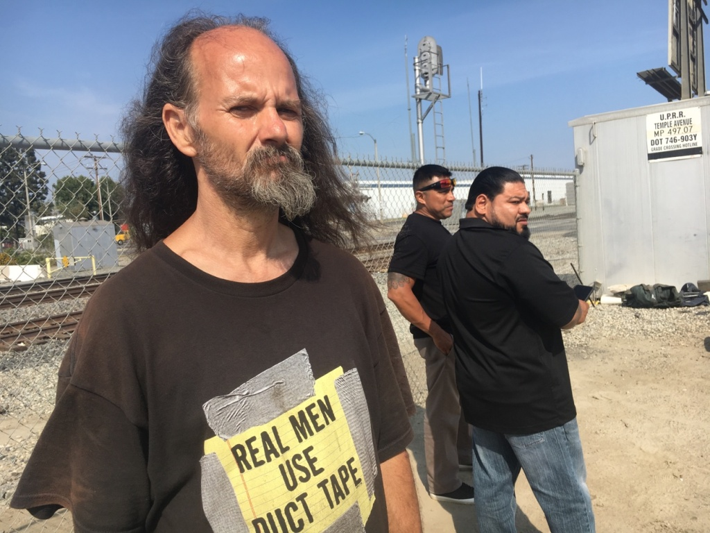 Sandy Conner, 50, a Navy veteran, hopes to apply for a HUD-VASH voucher to help get him into housing. He currently lives by a ravine where the busy 605 Freeway meets the 10 Freeway in El Monte.